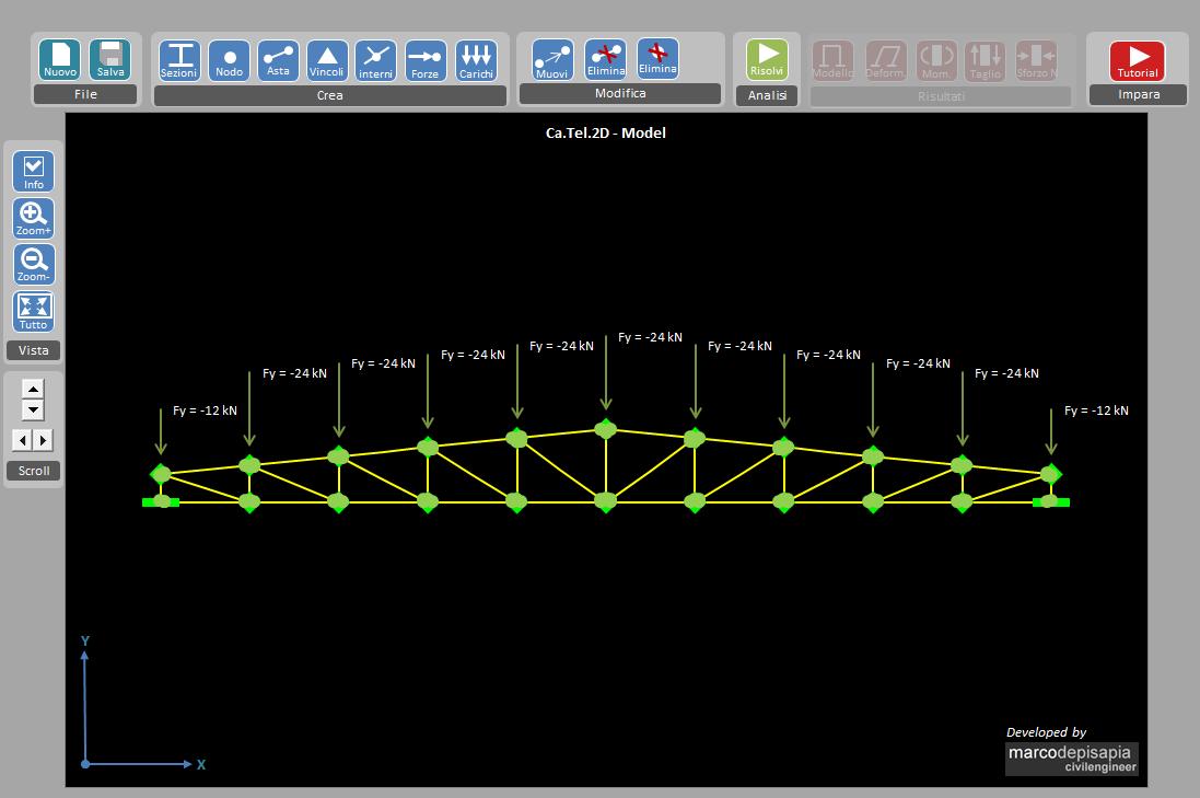 Ca tel 2d l 39 applicazione per l 39 analisi strutturale di for Piani di costruzione del modello