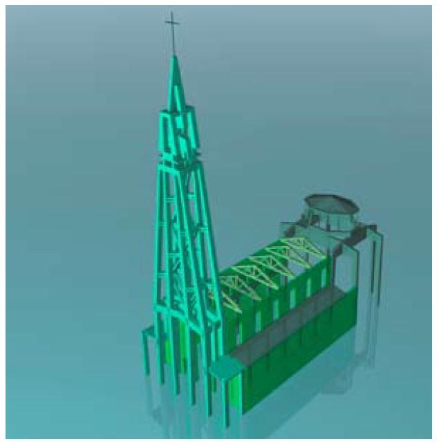 modello 3d chiesa sacro cuore firenze