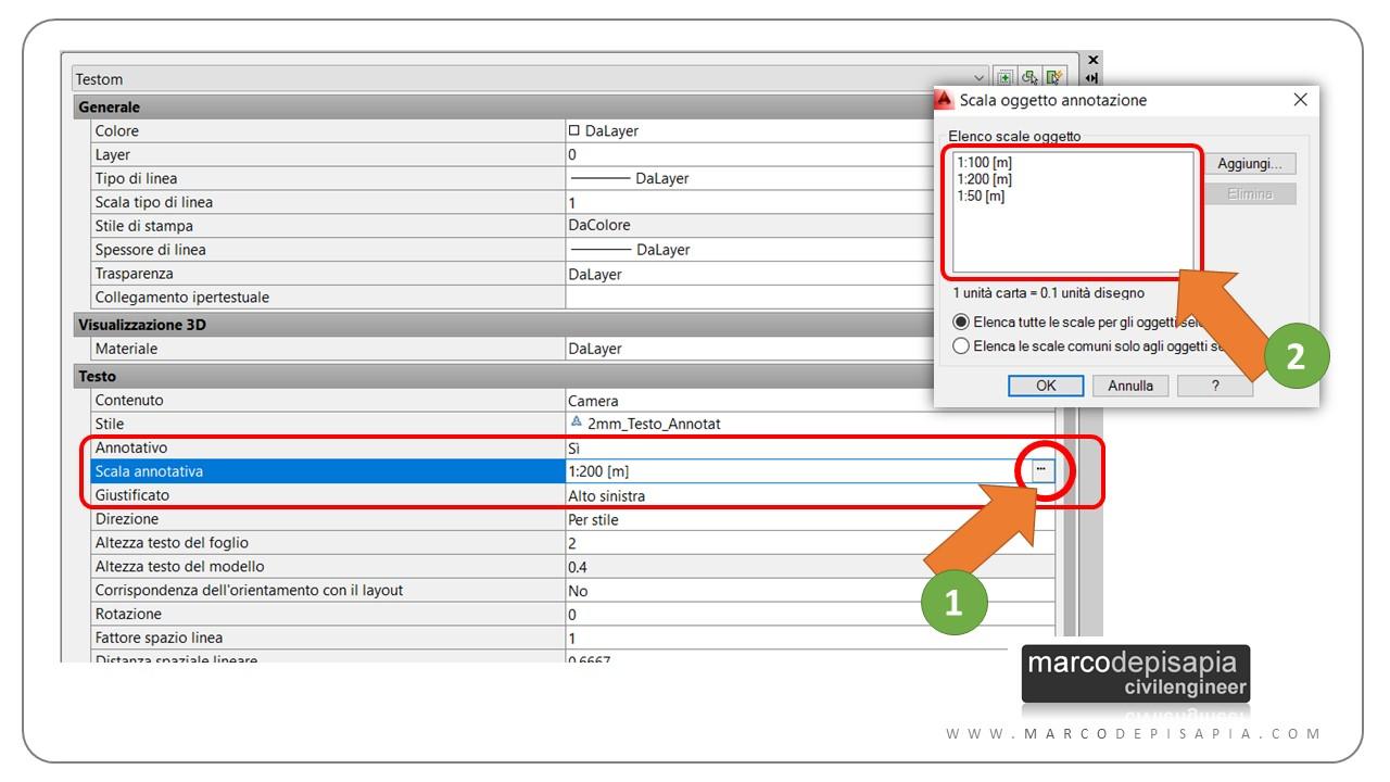 elenco scale oggetto AutoCAD