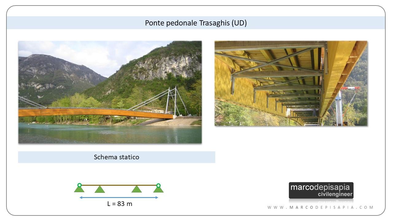 legno lamellare: esempio ponte pedonale Trasaghis